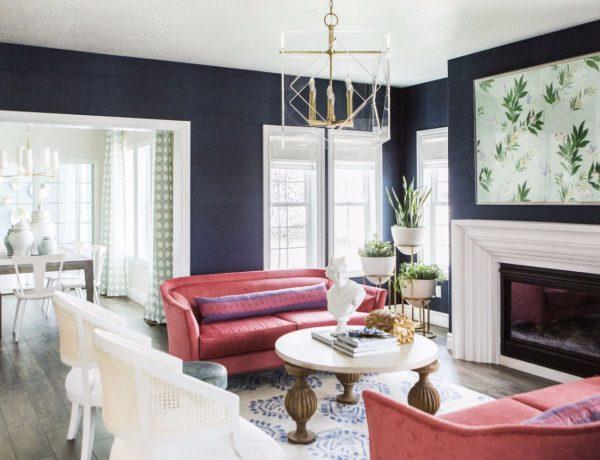 Inspirational Modern Living Room Designs navy walls 1 600x460